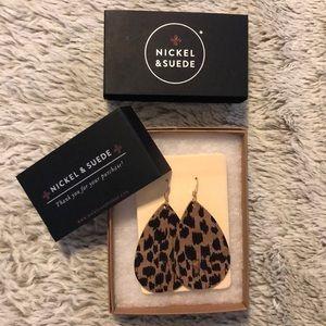 Nickel & Suede Leopard print Earrings
